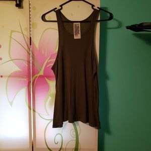 Free people long beach tank olive green size small